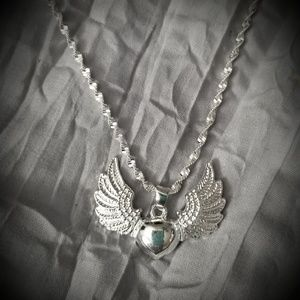 Jewelry - Sterling Silver Heart w/ Wings Pendant & Necklac